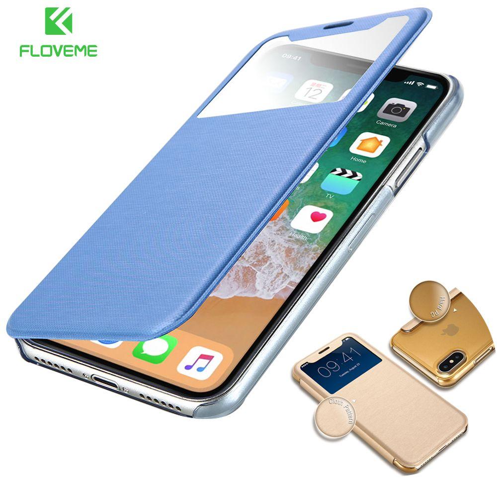 FLOVEME Ledertasche Für iPhone 7 7 Plus Für iPhone X Flip Klar Window Stark Phone Tasche Fall Für iPhone 6 6 s Plus 7 7 Plus