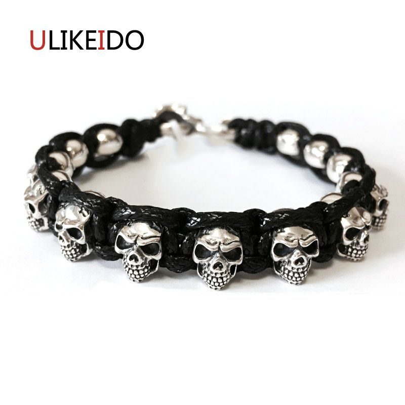 925 Sterling Silver Mens Skull Bracelets Fashion Domineering Classic Hand Skeleton Chain For Men Special Jewelry Charm 314