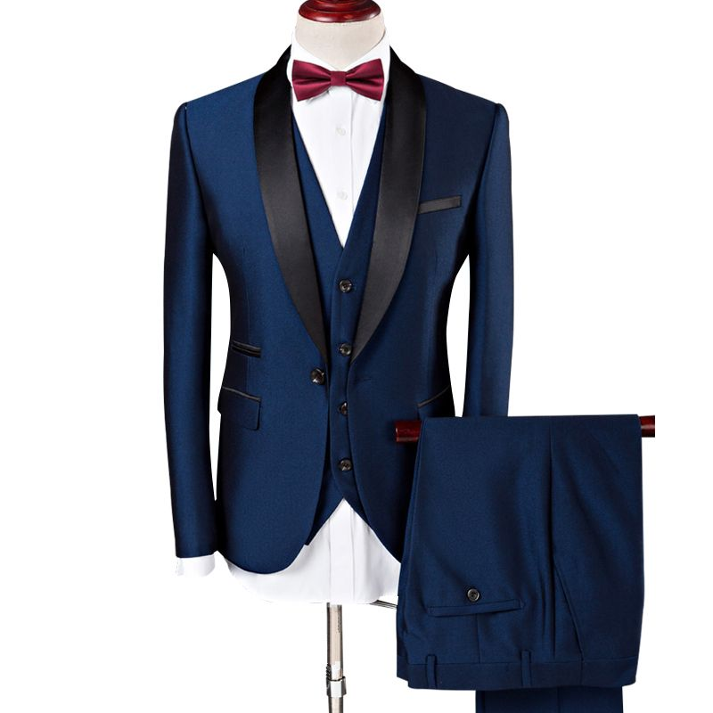 (Jacke + Weste + Hosen) männer Anzug 2019 Hochzeit Anzüge Für Männer Schal Kragen 3 Stück Slim Fit Burgund Anzug Herren Royal Blau Smoking Jacke