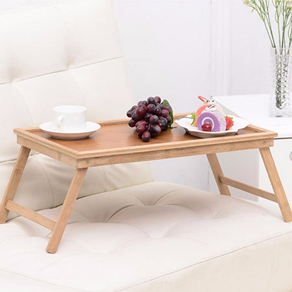 Foldable Wooden Bamboo Bed Tray Breakfast Laptop Desk Tea Serving Table Stand New Laptop Stand Holder Notebook Cooler Cooling