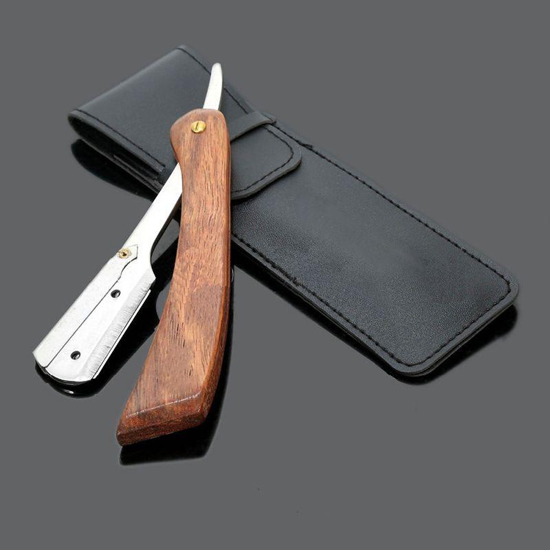 Rasoir manuel professionnel bord droit acier inoxydable rasoir de barbier pointu pliant couteau de rasage rasage barbe M03172