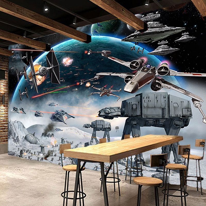 Custom 3D Photo Wallpaper Mural Star Wars Large Murals Wall Painting Eco-friendly Non-woven Bedroom Wallpaper Papel De Parede 3D