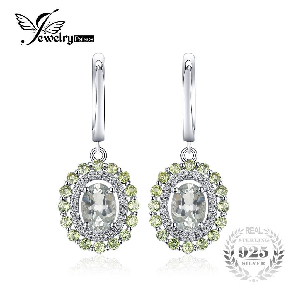 JewelryPalace Vintage 2.4ct Natural Amethyst del Peridot del Verde Clip de Moda 925 Aretes de Plata de Las Mujeres de La Boda Joyería Fina