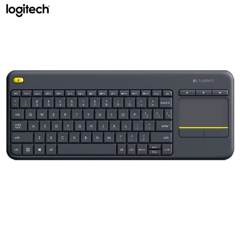 Logitech Беспроводной сенсорная клавиатура K400 плюс со встроенным тачпадом для Интернет подключенных TVs