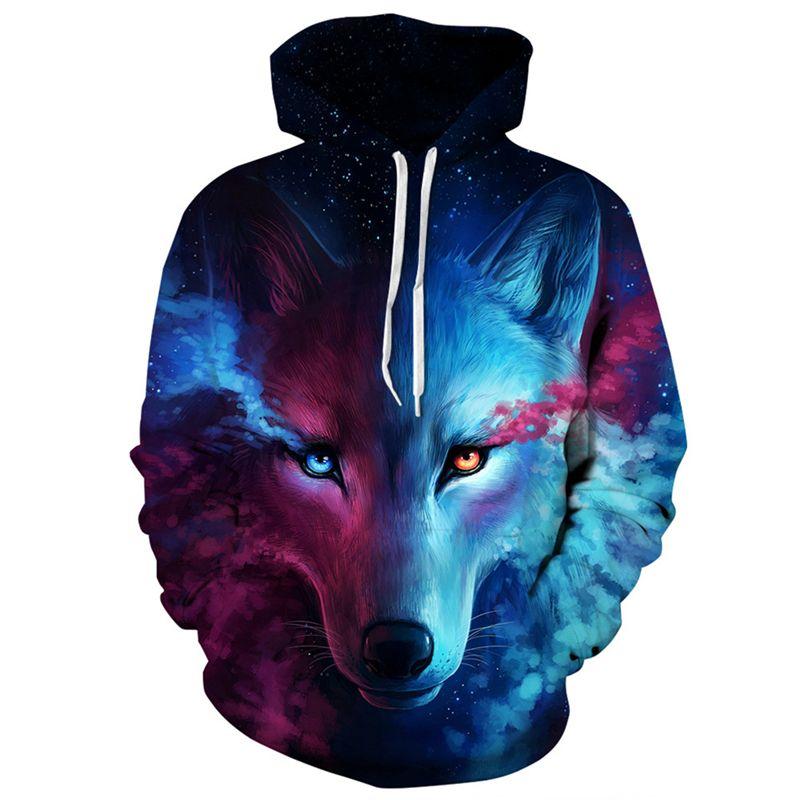 High Quality Wolf Printed Skateboarding Hoodies 3D Digital Loose Sport Hooded Sweatshirt Unisex Sportwear Running Jogging Hoody