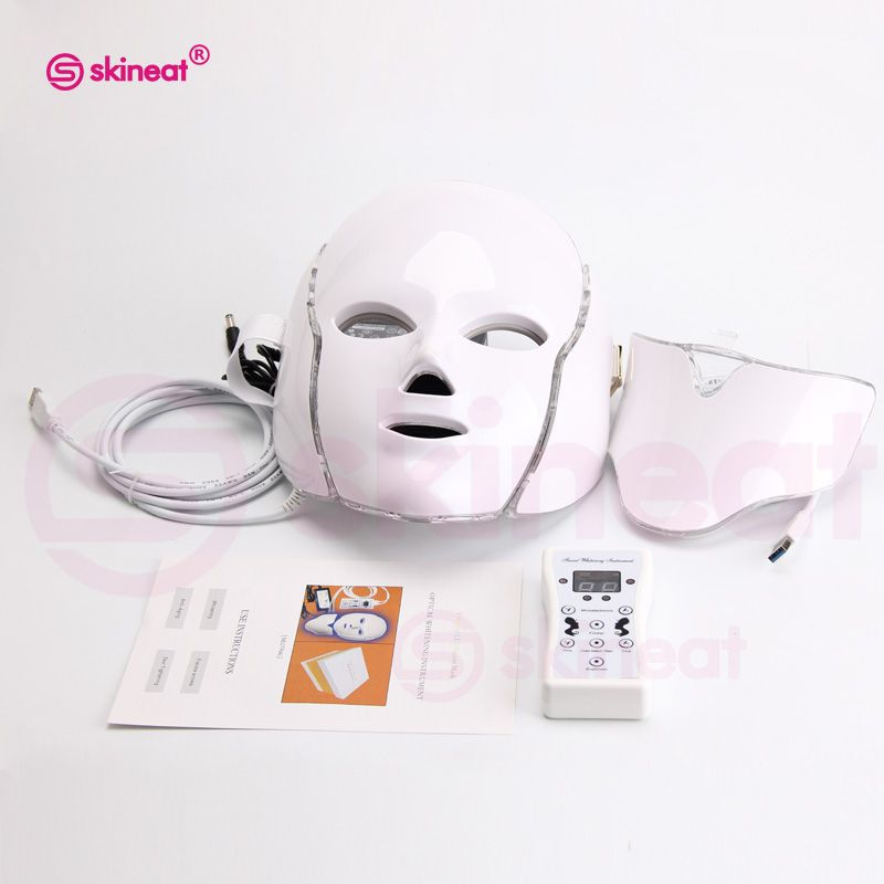 Skineat 7 Color LED Facial Neck Mask Anti-Wrinkle Device Acne Removal Beauty Spa Device Skin Rejuvenation White Face Masker