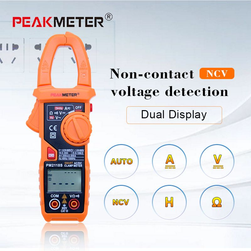 PM2118S Portable Smart AC/DC Clamp Meter Multimeter AC Current Voltage Resistance Continuity Measurement Tester with NCV