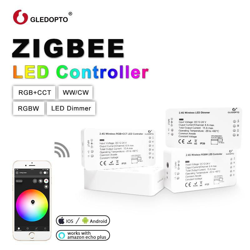 G led OPTO ZIGBEE led de contrôle RGB + CCT WW/CW zigbee contrôleur led DC12-24V led bande contrôleur zll app contrôleur RGBW rgb