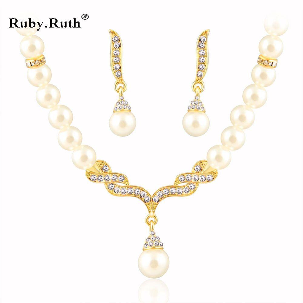 Schmuck Sets Für Frauen Hochzeit Brautkleid Zubehör Kristall Halskette Ohrringe Gold Farbe Afrikanische Perlen Set 2017