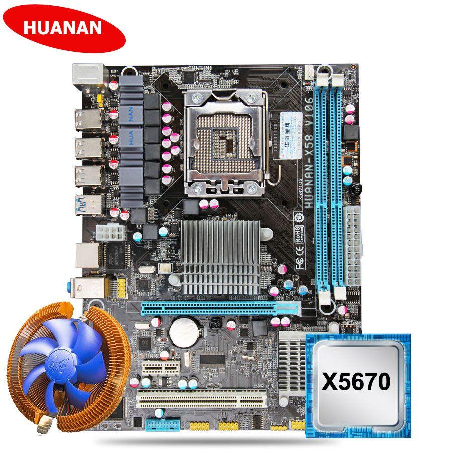 Neue HUANAN X58 motherboard CPU kit mit CPU kühler USB3.0 X58 LGA1366 motherboard CPU Xeon X5670 2,93 GHz 6 core 12 gewinde