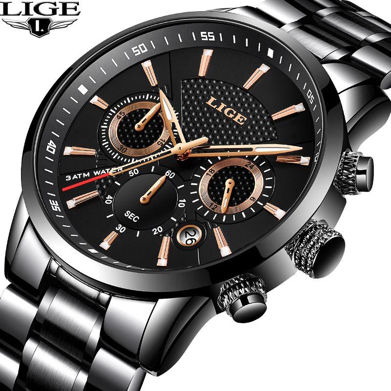 LIGE 2018 montre hommes mode Sport Quartz horloge hommes montres marque de luxe en acier complet affaires étanche montre Relogio Masculino