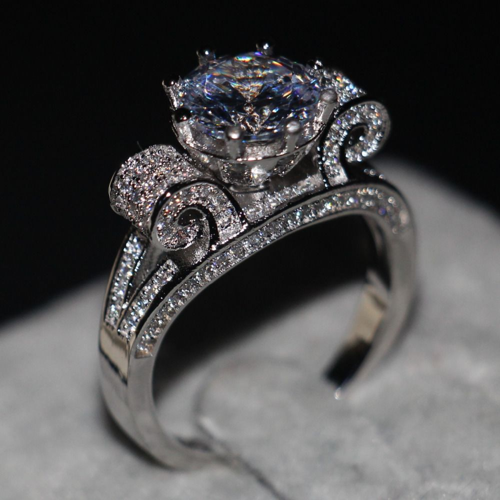 Romantic Jewelry Women men ring Round cut 9mm 3ct AAAAA zircon cz 925 Sterling silver Lovers Engagement Wedding Band Ring