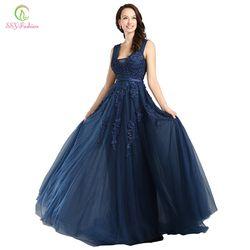 SSYFashion Spitze Appliques V-ausschnitt Langes Abendkleid Der Braut Sexy Sleeveless Lace-up Zurück Perlen Kleider Nach