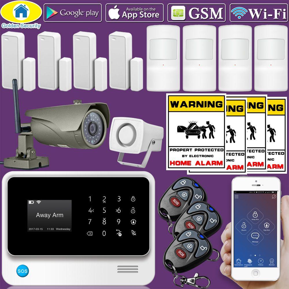 Золотой безопасности g90b плюс Wi-Fi 2 г/м² дома Охранной Сигнализации защиты дома gprs сигнализация Системы приложение Управление с Открытый IP ка...