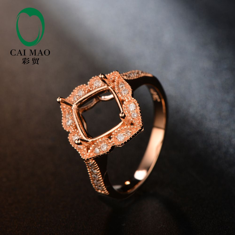 Free shipping Cushion 7mm 14k Rose gold natural diamond semi mount engagement ring