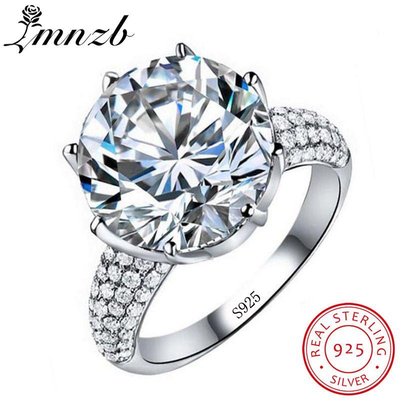 LMNZB Luxus Großen 6ct Solitaire Ring 925 Sterling Silber CZ Zirkon steinen Hochzeit Band Crown Ringe geschenk Für Frauen Größe 5-12 DIE LR064