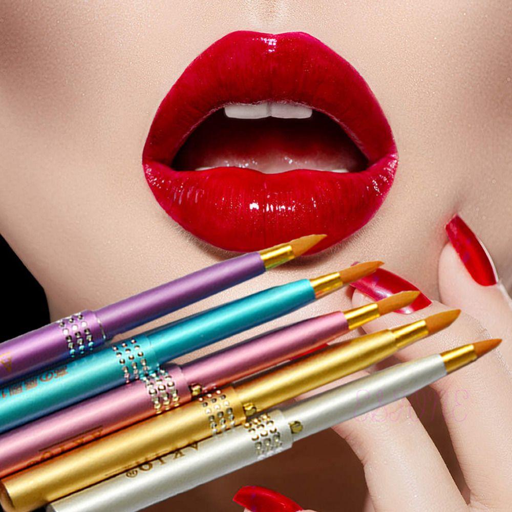 Hot MakeUp Cosmetic Portable Retractable Lip Brush Lipstick Gloss Random Color Tool