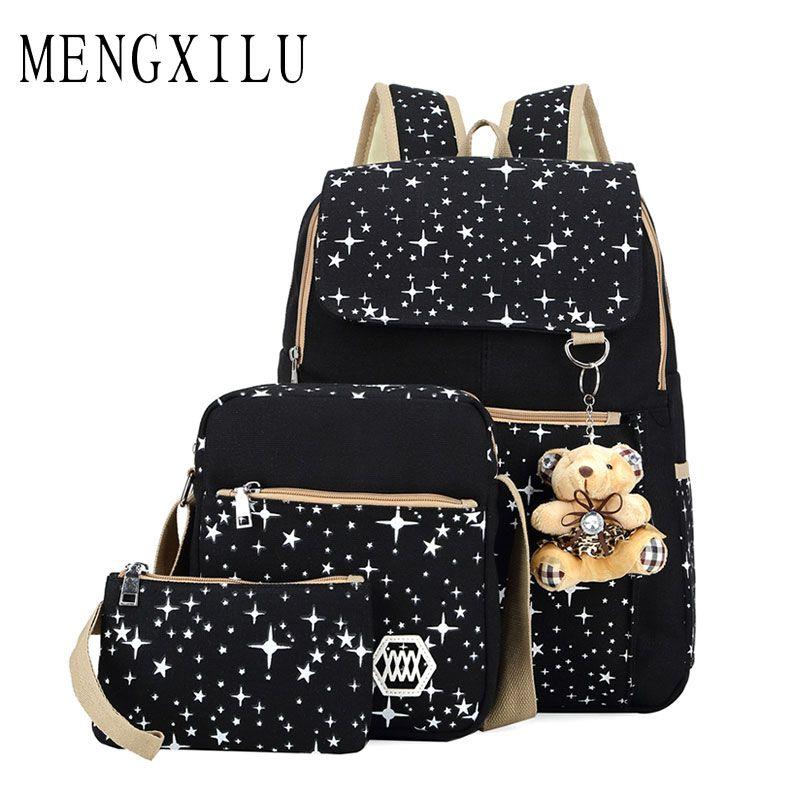 Large Capacity School Bags for Teenagers Girls Ladies Dot Bear Backpack 3 Set Star Women Shoulder Bag Canvas Backpack Rucksack