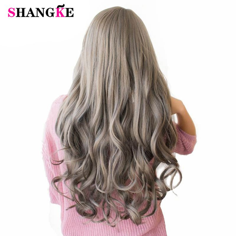 SHANGKE 26'' Long Wavy Colored Hair Wigs Heat Resistant Synthetic Wigs For White Women Natural Female Hair <font><b>Pieces</b></font> 7 Colors