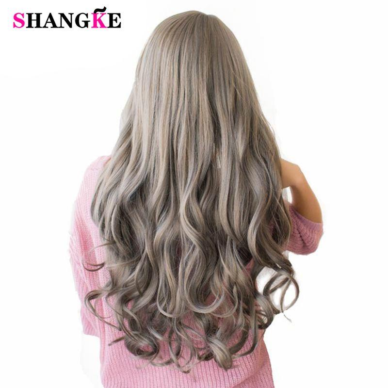 SHANGKE perruques de cheveux colorés ondulés de 26 ''de Long perruques synthétiques résistantes à la chaleur pour les femmes blanches pièces de cheveux féminins naturels 7 couleurs