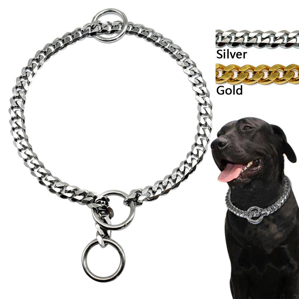 Collier ras du cou de chaîne de starter de chien de 3mm de diamètre fort argent or Chrome acier métal entraînement longueur 45 cm