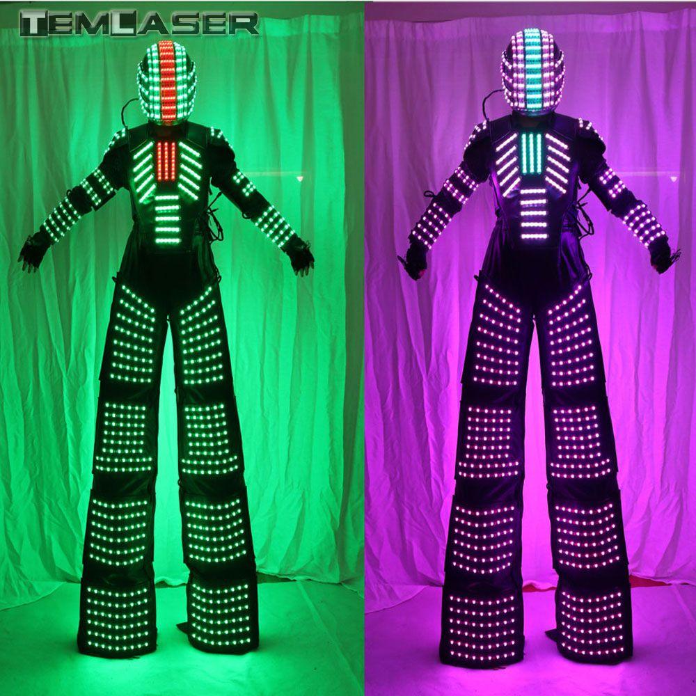 Stelzen Walker Led-leuchten Kostüme, LED Tänzerin Kostüm LED-Robot Anzug Für Party Leistung Elektronische Musik Festival DJ Zeigen