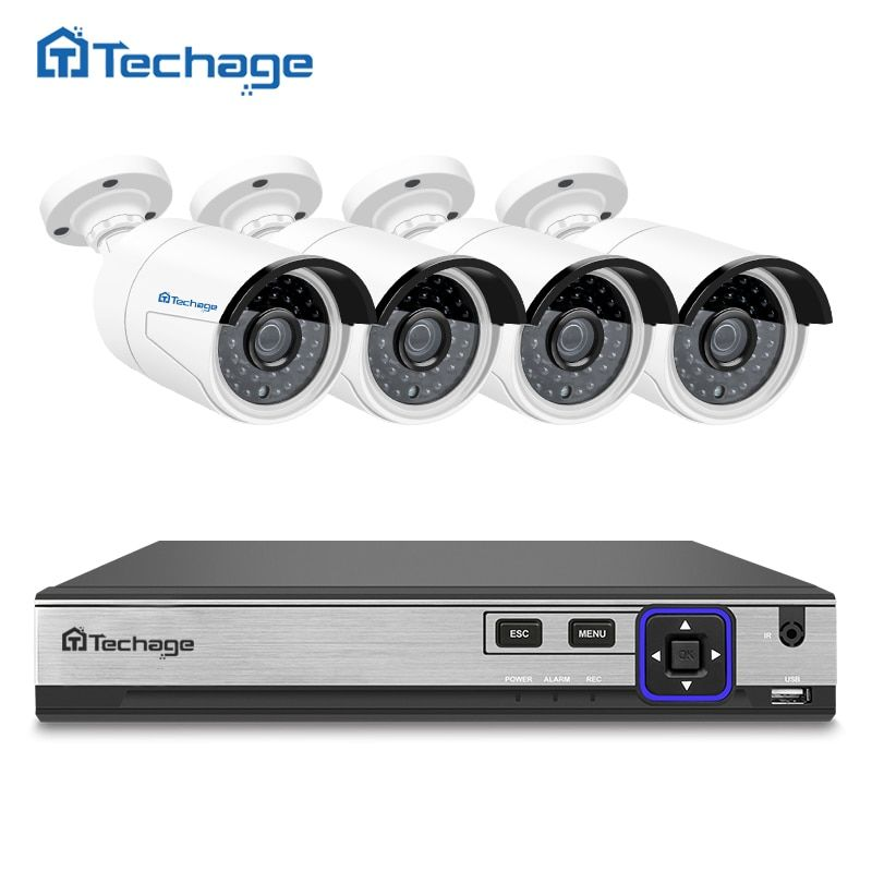 Techage H.265 4MP CCTV Camera System 4CH POE NVR Kit Outdoor IP66 4MP IP Camera P2P Onvif HD Video Security Surveillance Set