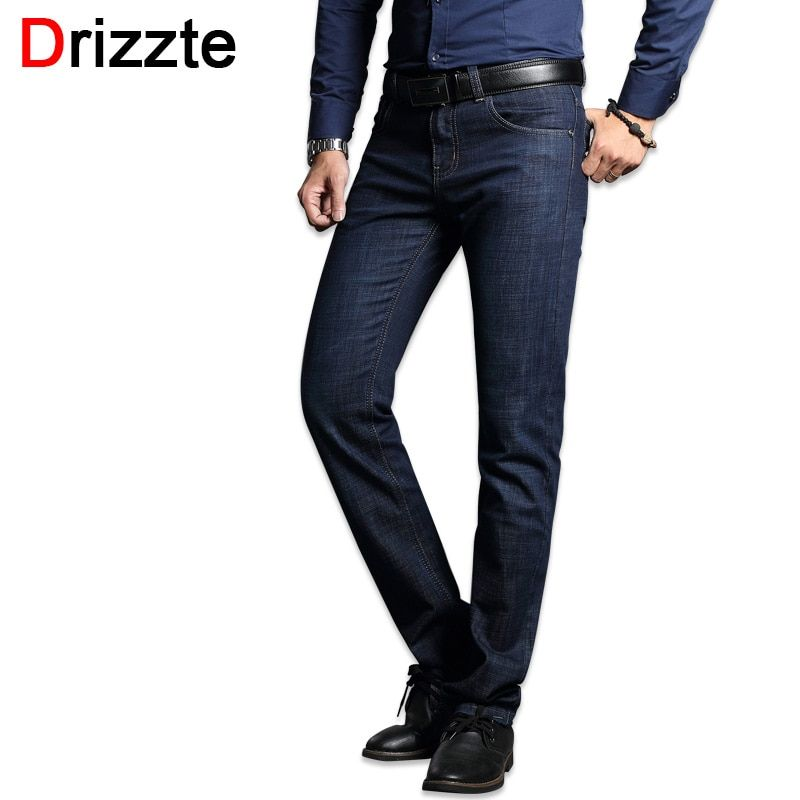 Drizzte Men's Jeans Stretch Blue Denim Business Stragiht Silm Fit Jeans Size 30 32 34 35 36 38 <font><b>Pants</b></font> Jean for Men
