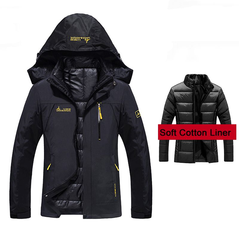 Women's Winter 2 Pieces Inside Cotton-Paded Jackets Outdoor Sport Waterproof Thermal Hiking Ski Camping Climbing Female Jackets