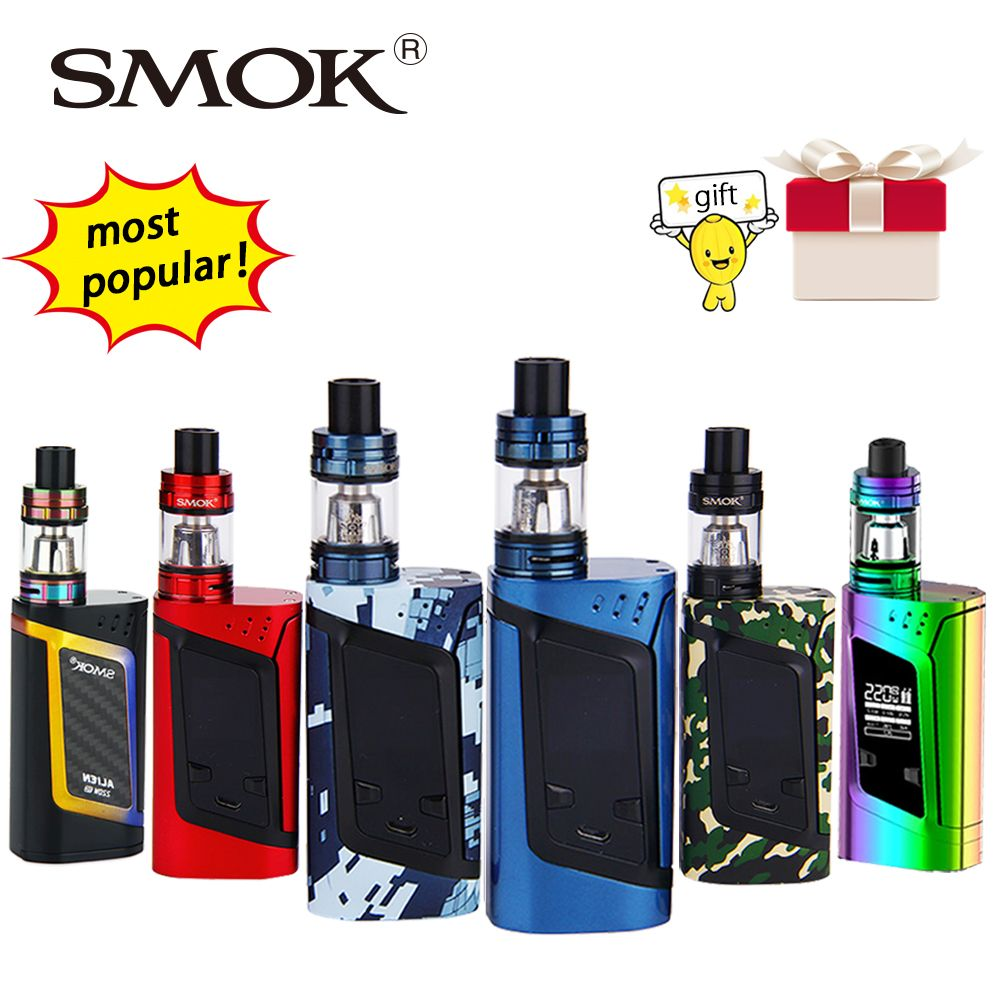 Original 220W SMOK Alien Vape Kit with Smok TFV8 Baby Tank 3ml Atomizer & Box Mod E-cig Starter Kit VS Smok T-priv/G320/Procolor