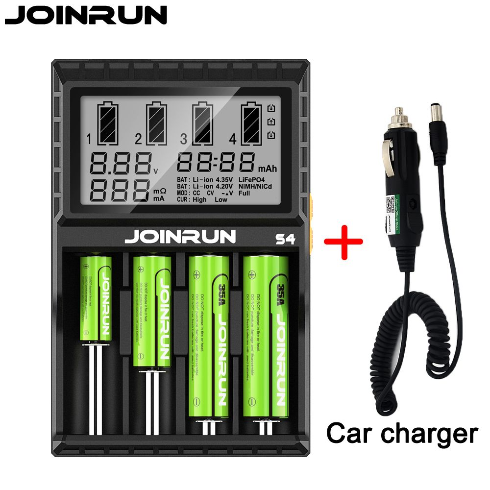 Joinrun S4 18650 charger LCD Smart Li-ion Charging for 18650 14500 16340 26650 with DC 12V Car Charger for A AA AAA Batteries