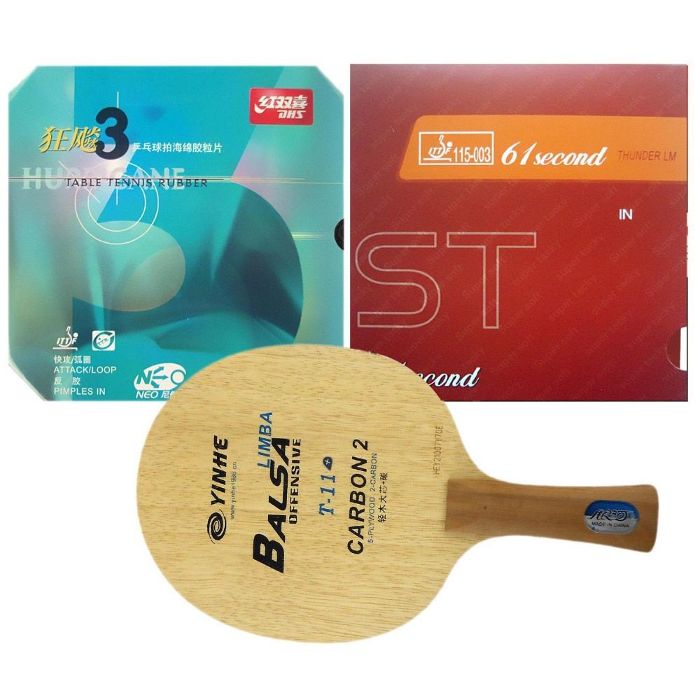 Galaxy T-11+ Table Tennis Blade With DHS NEO Hurricane3 and 61second LM ST Rubber With Sponge Long Shakehand FL