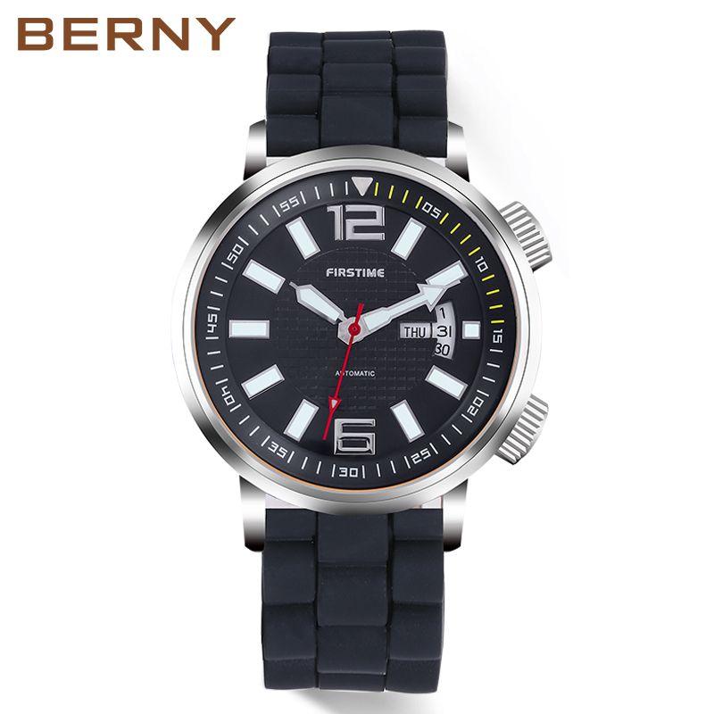 BERNY Marke Automatische Mechanische Uhren Männer Wasserdicht Klassische Auto Datum Uhr Männer erkek kol saati freies verschiffen AM7068