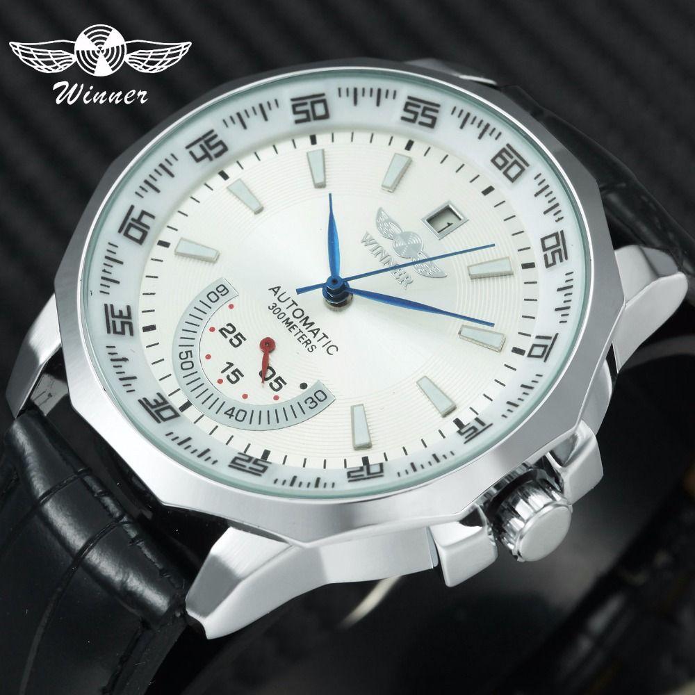 GAGNANT montre de sport militaire Hommes Auto Mécanique de Travail sous-cadrans Calendrier Cadran Bleu Bracelet En Cuir montres homme Top Marque De Luxe