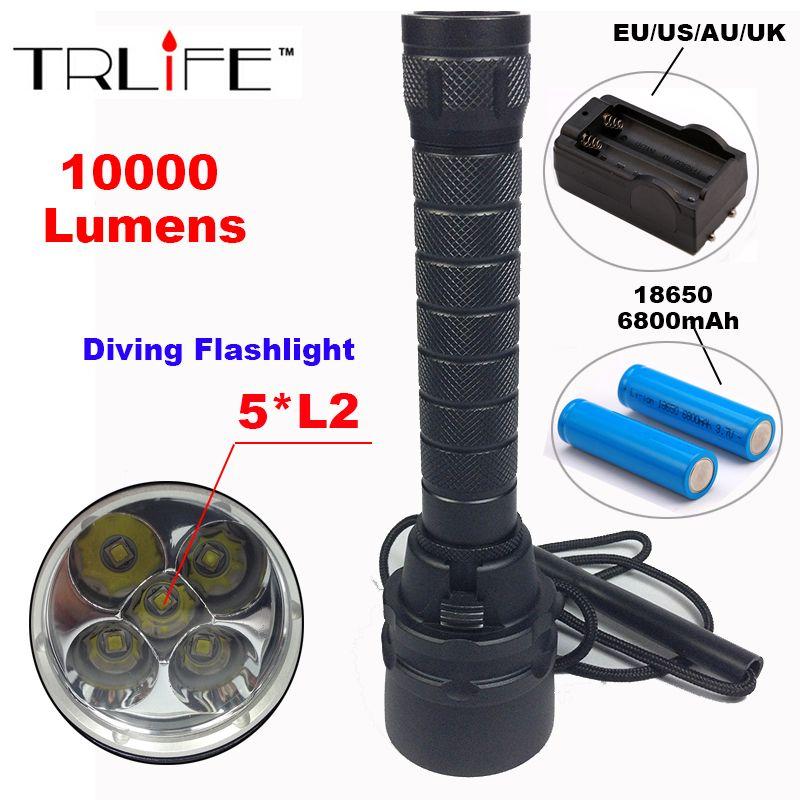 10000 Lumens Torch 5 x L2 T6 Diving LED Flashlight 200M Underwater Waterproof Torch Tactical Flashlight Lantern