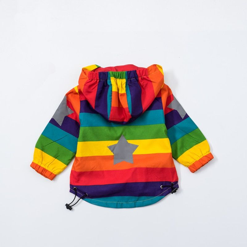 Baby Girl Jacket Boy Hooded Coat Sunscreen Clothes Rainbow <font><b>Stripe</b></font> Jacket Baby Boy Long Sleeves Spring And Autumn Kids Clothes 2Y