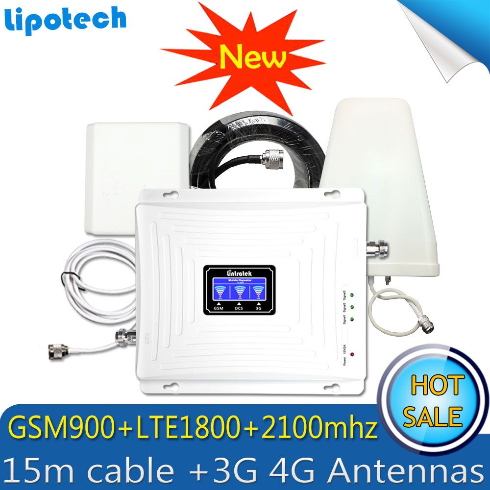 2G 3G 4G Triple band 70dB GSM 900 LTE 1800 WCDMA 2100 mhz Cell Phone Signal Booster Cellular Signal Repeater 3G 4G Antenna Set