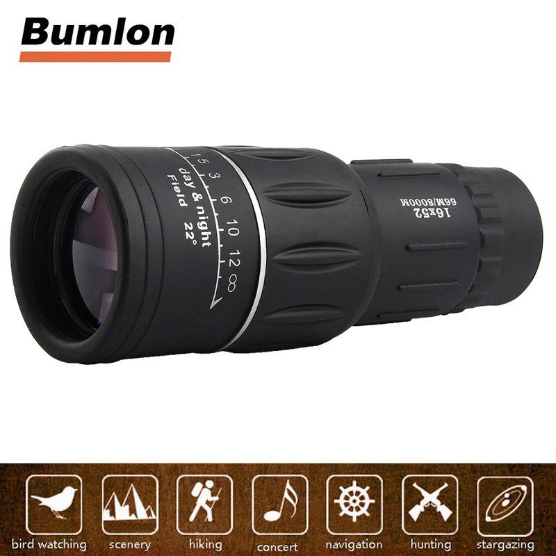 16X52 HD Monocular Telescope Dual Focusing Adjustment Low Light Night Vision Binocular Spotting Scope Hunting Watching HT38-0007