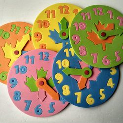 1 Piece Kids DIY Eva Clock Learning Education Toys Fun Jigsaw Puzzle Game for Children 3-6 years old free shipping