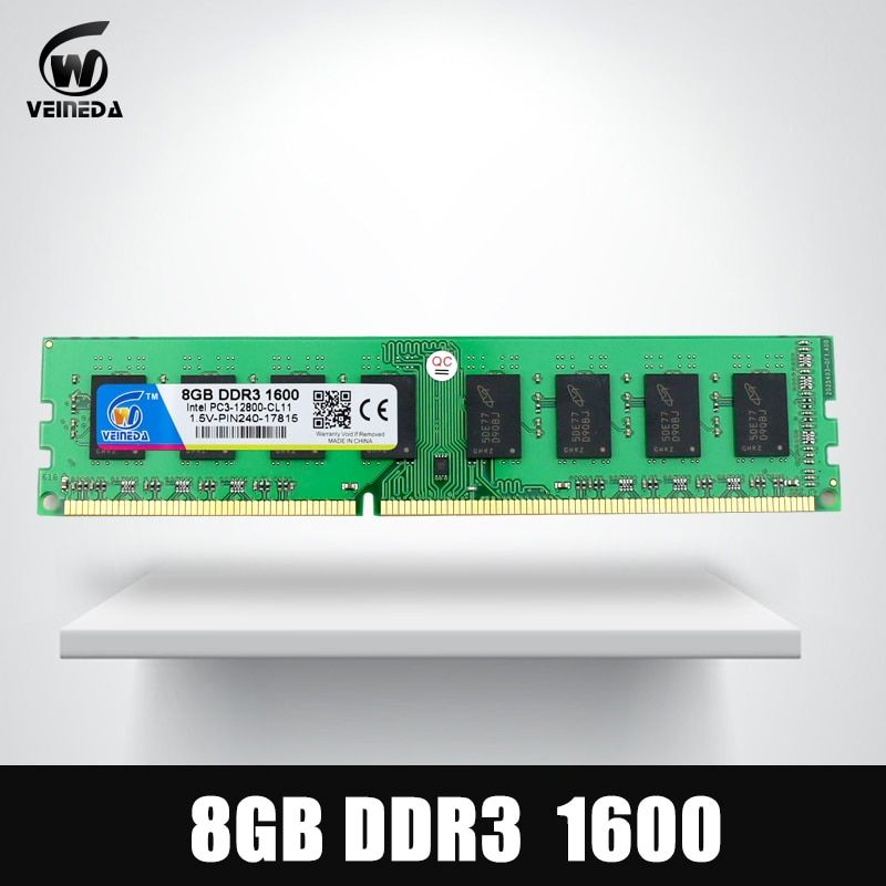 VEINEDA DDR3 8GB 1333 PC3-10600 240PIN Dimm Ram Compatible 8gb ddr3 1600 PC3-12800 For AMD Intel DeskPC