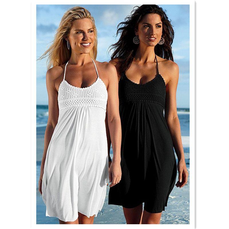 Femmes été robe licou plage porter robe fait à la main buste et smocké bretelles jupe maillot de bain ups robes