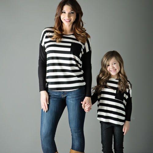 В полоску для мамы и дочери Топ Футболка с длинными рукавами Для женщин детская одежда для девочек новый Одинаковые комплекты для семьи ком...