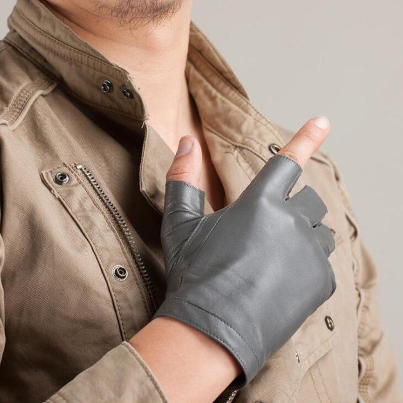 Neue Mode Hochwertigem Weichem Frauen Männer Halbfinger Echtem Leder Motorrad Fingerlose Luvas Taktische Schaffell Handschuhe S74