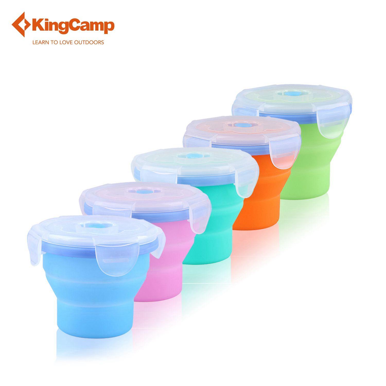 KingCamp Tragbare Silikon Faltbare Tasse mit Deckel Zusammenklappbare Bunte Reise Wandern Cup 250 ml (8.45fl.oz)