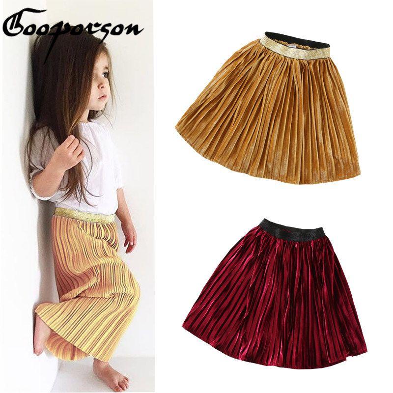 New Fashion Baby Girls Skirt Metal Color Gold/Wine/Grey Pleated Skirt Children Skirt 2017 New Design Kids Clothes Autumn Skirt