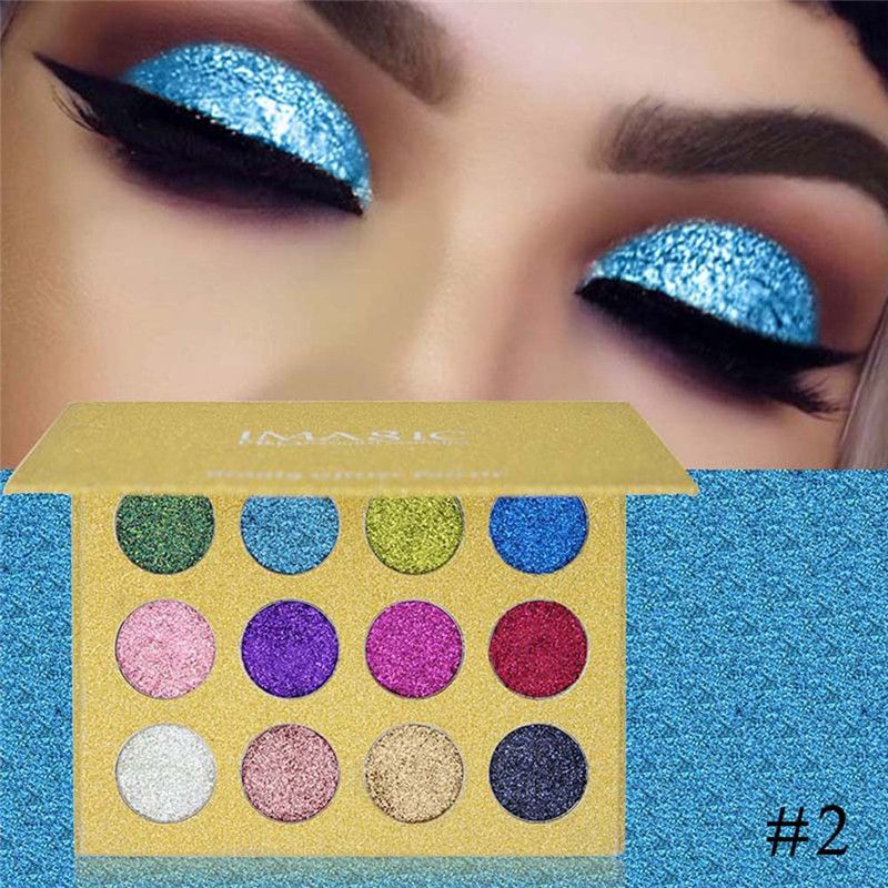 12 Colors shimmer Glitters Eye shdow Palette Rainbow Diamond Pressed Glitters Foiled Eyeshadows Palette Cosmetic Make Up