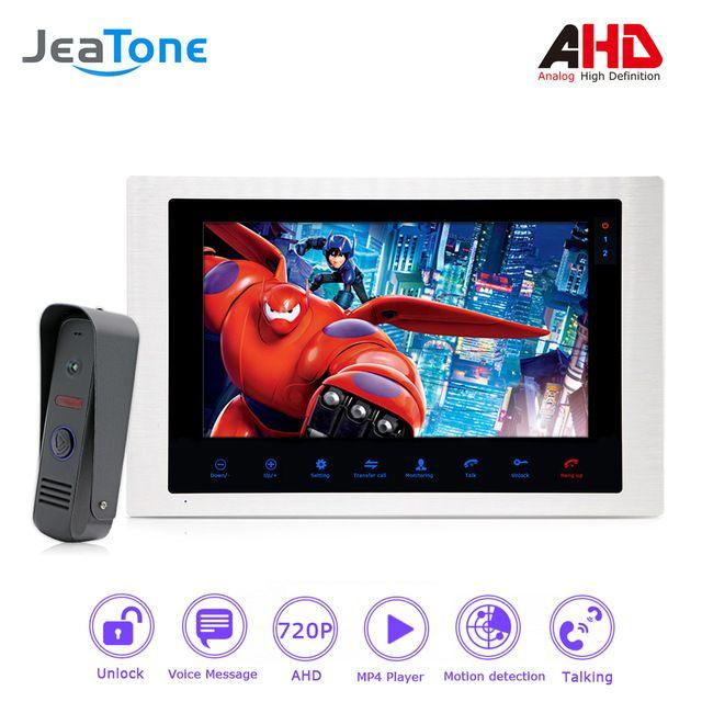 1080P AHD 10'' Video Door Phone Intercom Door Bell Door Speaker Waterproof Support Voice message/Motion Detection/MP4 Player