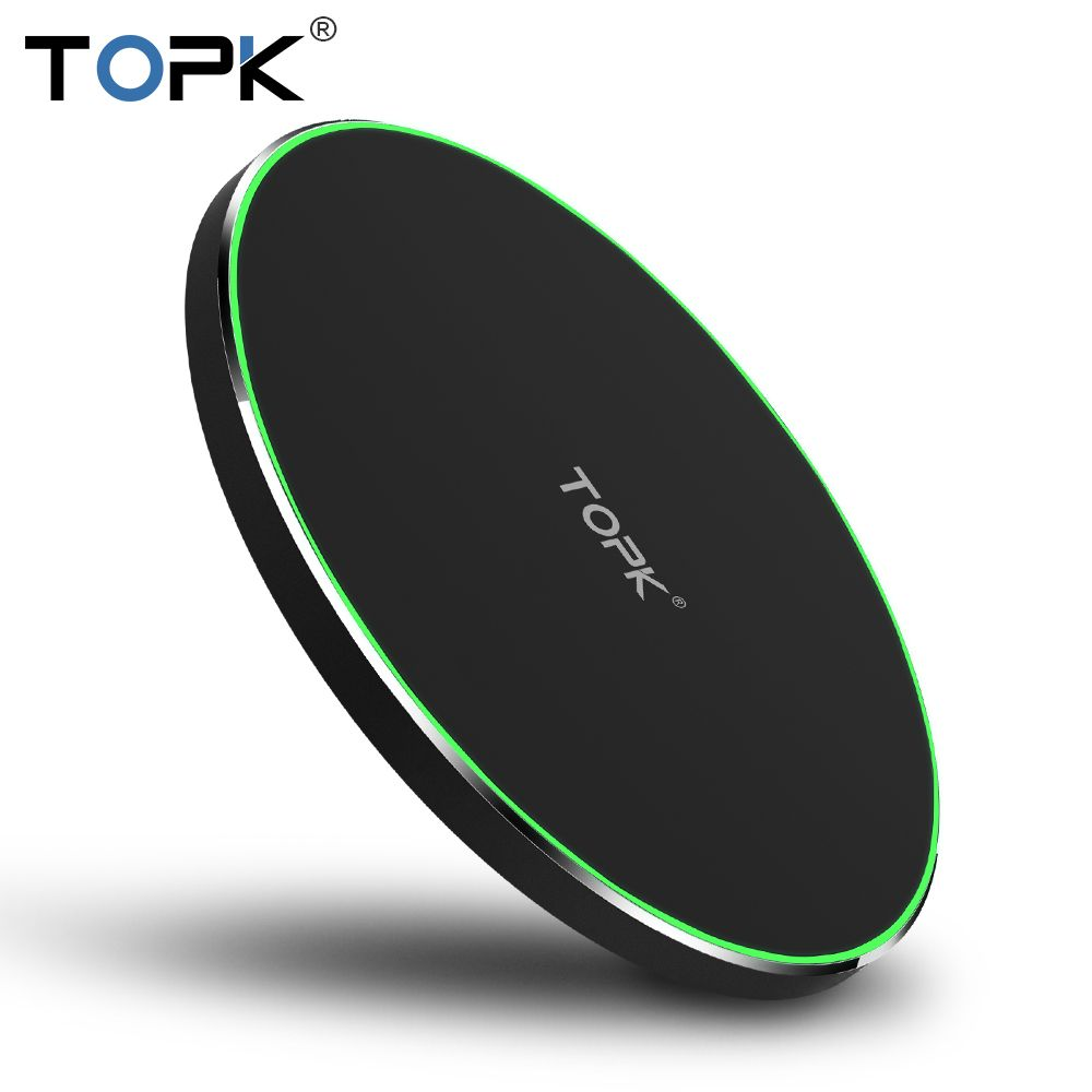 TOPK 10W wireless charger for iPhone 8/X Fast Wireless Charging for Samsung S8/S8+/S7 <font><b>Edge</b></font> Nexus5 Lumia 820 USB Charger Pad