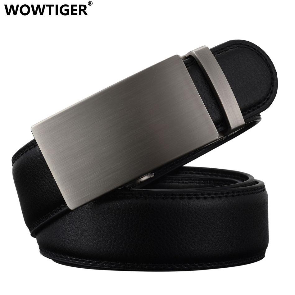 WOWTIGER New Fashion Designer Belts for Men Sliding Buckle Ratchet Luxury Leather Men Belt Automatic ceinture homme