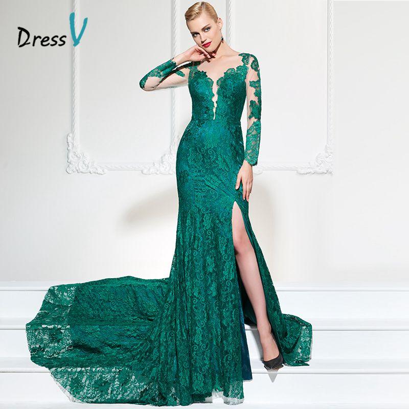 DressV long sleeves appliques evening dress sexy v neck split-front button lace court train long women party prom evening dress